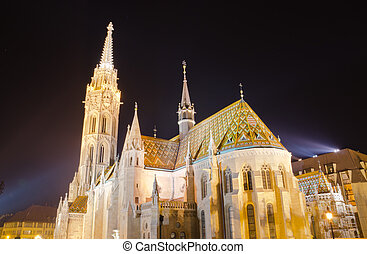 Budapest Matthias Church at night, Budapest, Hungary