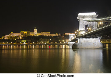 Budapest castle and chain bridge, Hungary - Budapest castle...