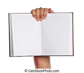 Man hand - Man holding a notebook isolated on white...