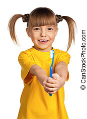 Girl with tooth brush - Portrait of happy little girl with...
