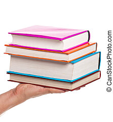 Man hand - Man holding a books isolated on white background