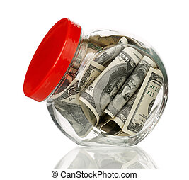 Money jar - Many dollars in a glass jar isolated on white...