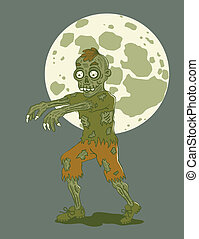 zombie - Illustration zombies at night by moonlight
