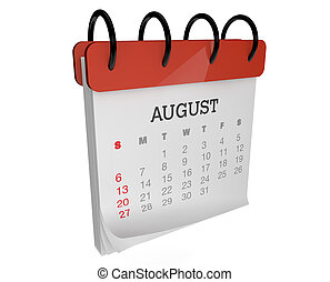 August calendar - render of an square calendar august month
