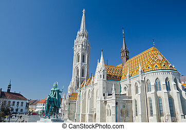 St. Stephen Monument Looking at Matthias Church at Buda...
