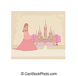 Beautiful young princess in front of her castle