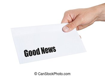 hand giving an envelope with Good News on it