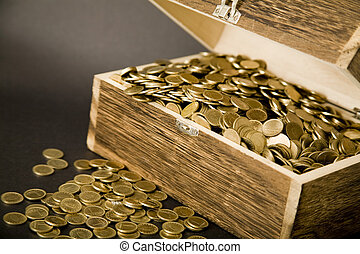 Treasure-chest - Old treasure-chest full of coins