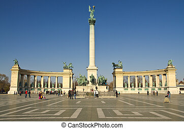 BUDAPEST - CIRCA MAR 2012: Tourists visit Millennium...