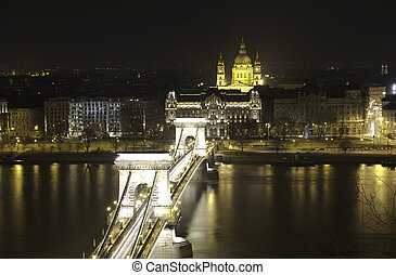 Chain Bridge and St. Stephen's Basilica - HDR View of Chain...