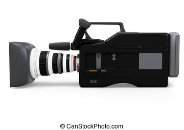 3d video camera on white background