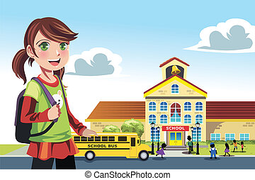 Going to school - A vector illustration of a little girl...