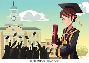Graduation girl holding diploma - A vector illustration of a...