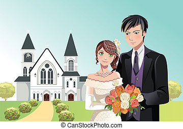 Couple getting married - A vector illustration of a couple...