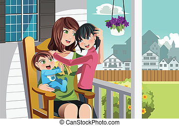 Mother and children - A vector illustration of a mother and...