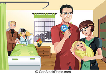 Newborn baby with family - A vector illustration of a...