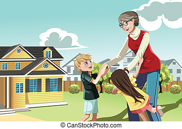 Grandmother playing with grandchildren - A vector...