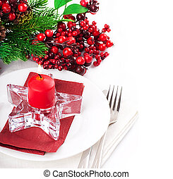 Christmas table layout, multi-colored tape with a branch of...