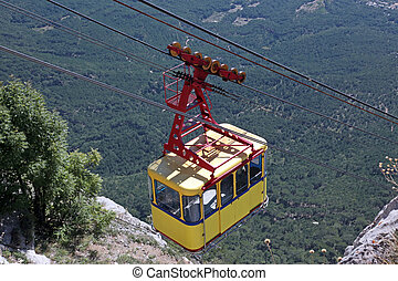 ropeway in mountains - Crimean mountains, Ah-Petri, yellow...