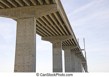 High Concrete Bridge - A concrete bridge spanning a sound...