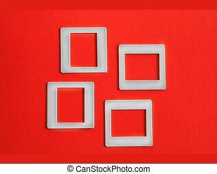 Slide Film Frames - Several slide film frames on an isolated...
