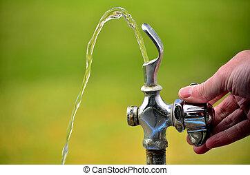 bebendo, chafariz, água, fluir