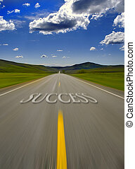 Road to Success - Road to success with painted double yellow...