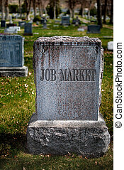 Gravestone for Job Market - Gravestone in cemetery for job...
