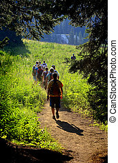 Girls Hiking on Trail - Group of girls hiking along trail...