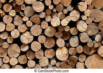 Firewood stacked in the woodpile - Background of firewood...