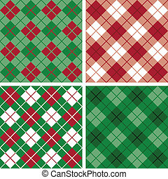 Argyle-Plaid Pattern in Red-Green - Four seamless argyle and...