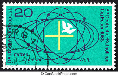 Postage stamp Germany 1968 Cross and Dove in Center of...