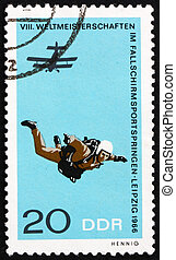 Postage stamp GDR 1966 Parachutist in Free Fall - GDR -...