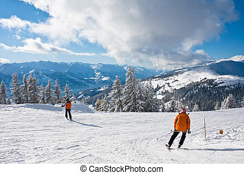 Ski resort Zell am See, Austria - Ski resort Zell am See,...