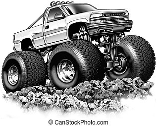 Cartoon 4x4 Truck - Black line and Airbrush Illustration