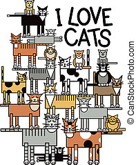 I Love Cats - Design of a group of talented, cute cats...