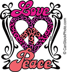 Love Peace Heart design in a retro 1960s-1970s style.