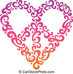 Peace Heart - Floral peace heart design in a retro...