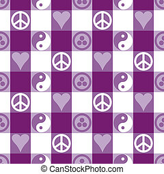 Peace Plaid in Purple - Peace Plaid seamless pattern in...