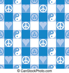 Peace Plaid in Light Blue - Peace Plaid seamless pattern in...