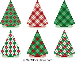 Plaid Christmas Trees - Stylized holiday trees patterned in...