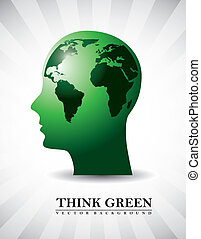 think green - silhouette men with map, think green vector...