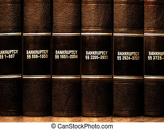 Law Books on Bankruptcy - Close up of several volumes of law...