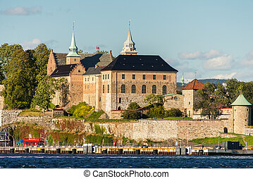View on Oslo Fjord harbor and Akershus Fortress, Oslo,...