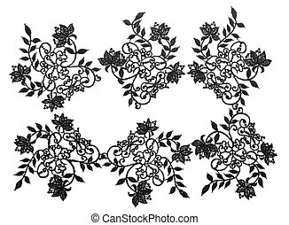 Embroidered lace trim. Fabric texture