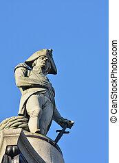 quadrado,  NELSONS, estátua,  Trafalgar