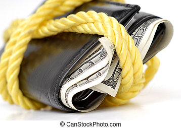 Wallet Full of Cash - Closeup of hundred dollar bills in...