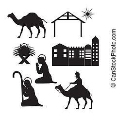 christmas - silhouettte christmas, nativity scene vector...