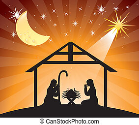 nativity scene - black silhouettte nativity scene over...