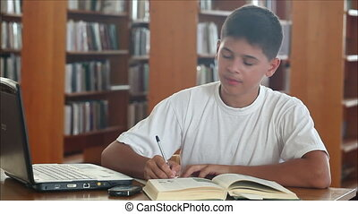 schoolboy in the library 3